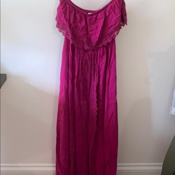 Strapless purple dress small